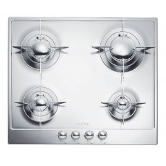 SMEG Built In Hob 4 Burners 60 cm Gas Cast Iron Full Safety Stainless Steel P 64