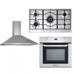 Elba Built-In Gas oven 60cm with Grill and Gas Hob 90cm 5 Burners and chimny hood 90cm 550m3/hr E-512-731X