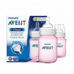 Philips AVENT Classic Plastic 2 Biberon 260 ml 2 Feeding Bottle Rose Classic260-R2