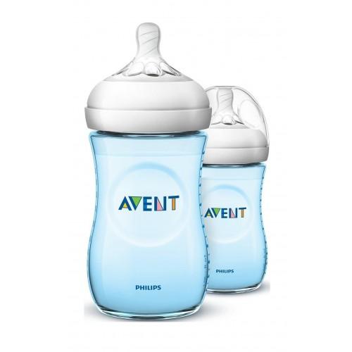 AVENT Natural Plastic Biberon 260 ml 2 Feeding Bottle Light Blue Natural 2-260 B