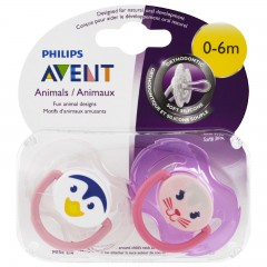 AVENT Tetina 2 pcs with Box and Cover for Children from 0-6 Months T-T06