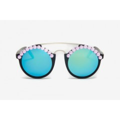 Freda Banana Women's Sun Glasses Black Matte- Pink Pearls LEO
