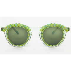 Freda Banana Women's Sun Glasses Green with Pearls TOSCA ALL GREEN