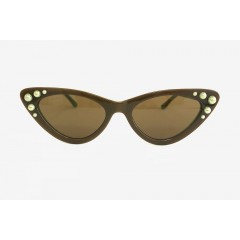 Freda Banana Women's Sun Glasses with Pearls ANISSA DARK GREY