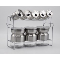 Joseph Spice Set 8 pieces Glass With Stand Silver MA-0831