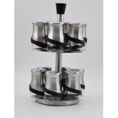 Joseph Spice Set 12 pieces Glass With Stand Silver MA-1241
