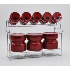 Joseph Spice Set 8 pieces Glass With Stand Red MA-0834