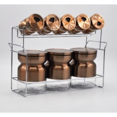 Joseph Spice Set 8 pieces Glass With Stand Gold MA-0835