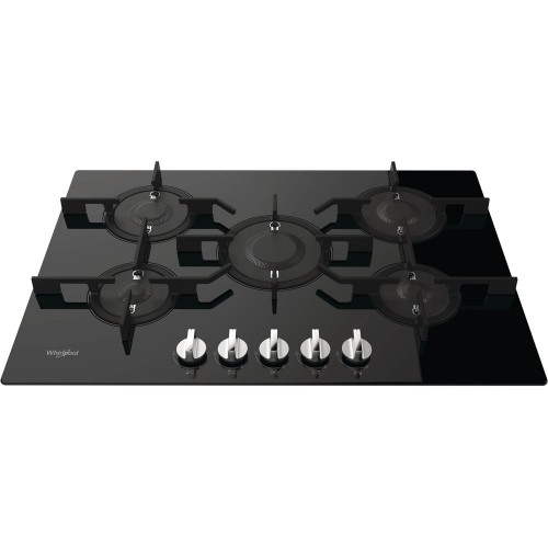Whirlpool Built-In Gas Hob 75cm Glass Full Safety 5 Burners POW 75D2/NB