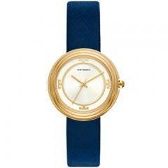 توري بورش ساعة حريمي سوار جلد ازرق مينا بيضاء TBW6101