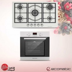Ecomatic Built-in Gas Oven With Grill 60cm Black Glass and Hob 90 cm Frontal Control G6404TD