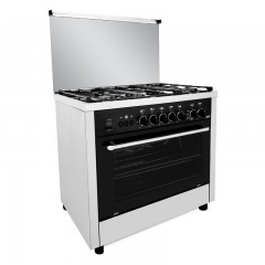 Fresh Gas Cooker Semi-BuiltIn 5 Burners 90x60 cm Timer for Gas Stopping With Fan Digital Black Professional-1358