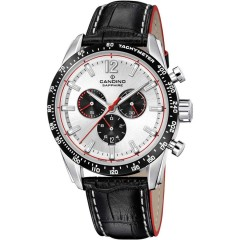 Candino Mens Chronograph Quartz Watch Leather Black Band Silver Dial C4681/1