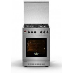 KIRIAZI Gas Cooker 60*60 cm 4 burner Digital Iron Cast With 4 Fan Stainless 60FC-6 SMART