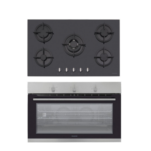 Dominox Built-In Hob 90 cm 5 Gas Burners Black Glass DHG 905 4G TC BK F C FEN