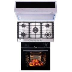 iCook Gas Oven 60cm and Hood 90cm 3 Speeds 500 m3/h and Gas Hob 90 cm BO6060G-119-DSF