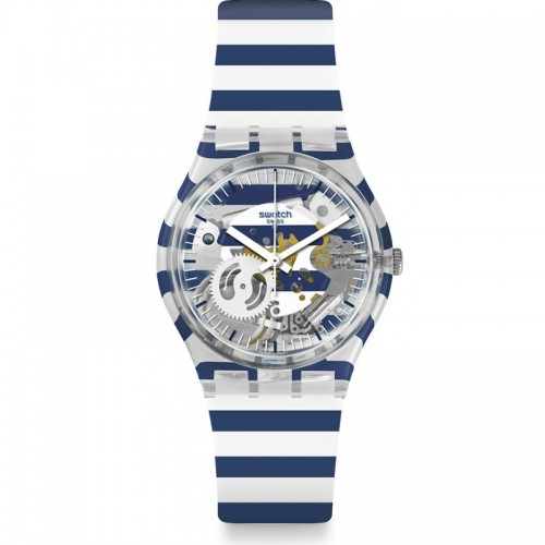 SWATCH Unisex's Watch Silicone White*Blue Band GE270