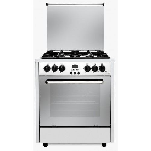 Fresh Gas Cooker Semi-BuiltIn 4 Burners 65x60 cm Timer for Gas Stopping With Fan Digital Black PROFSSIONAL-3510