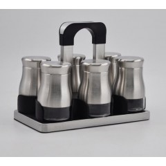 Joseph Spice Set 6 pieces Glass*Stainless With Stand Silver MA-0618