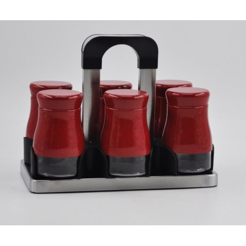 Joseph Spice Set 6 pieces Glass*Stainless With Stand Red MA-0621