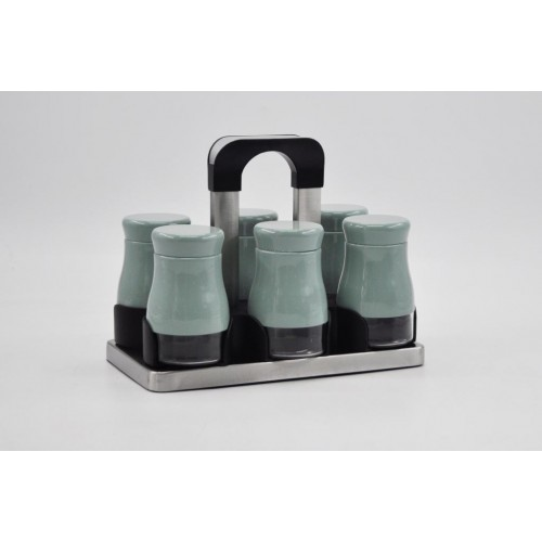 Joseph Spice Set 6 pieces Glass*Stainless With Stand Green MA-0620