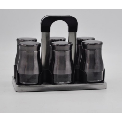 Joseph Spice Set 6 pieces Glass*Stainless With Stand Brown MA-0619