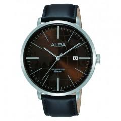 ألبا ساعة يد رجالي برستيج جلد أسود مقاومة للماء AS9J89X