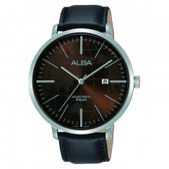 Alba MEN'S hand watch prestige Black Leather Strap Water Resistant AS9J89X