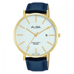 Alba MEN'S hand watch prestige Black Leather Strap Water Resistant AS9K18X