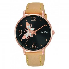 Alba Ladies' Hand Watch Fashion Black Dial & Light Brown Leather band AH8610X