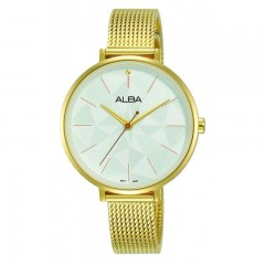 ALBA Ladies' Hand Watch Fashion White dial & Stainless steel band Water Resistance AH8674X