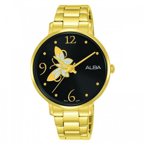 ALBA Ladies' Hand Watch Fashion Black Dial & Stainless steel band Water Resistance AH8606X