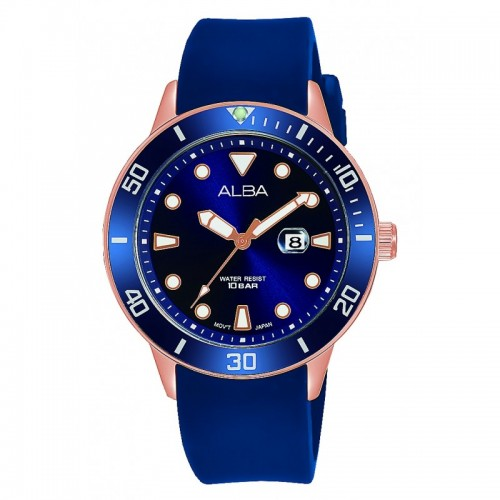 Alba Ladies' Hand Watch Active Blue Dial & Blue Rubber band Water Resistance AH7T82X