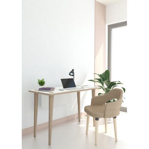 Desk 120 cm Easy Installation and Fixed Chair 50*50*96 cm Light Grey AFC-G