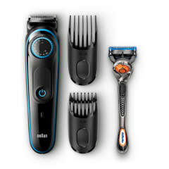 Braun Trimmer with Precision dial, 2 Combs and Gillette Fusion5 ProGlide Razor BT5040