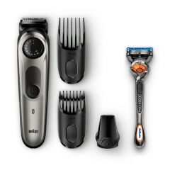 Braun Trimmer with precision dial, 3 Attachments and Gillette Fusion5 ProGlide Razor BT5060