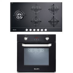 Elba Built-In Gas Oven 60cm and Gas Hob Vitroceramic Glass 5 Burners 512-7GTC