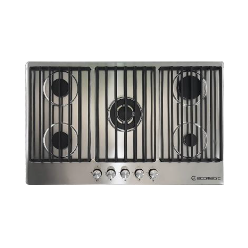 Ecomatic Built-In Hob 90 cm 5 Gas Burners Cast Iron Frontal Control Stainless safety S9003C