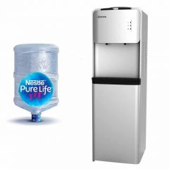 Grand Water Dispenser 2 Spigots Cold/Hot with Cabinet Silver WDQ-531C