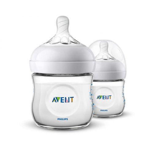 AVENT Natural Plastic Biberon 125 ml/ 4 oz 2 Feeding Bottle SCF030/27