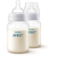 AVENT Classic Plastic Biberon 260 ml 2 Feeding Bottle White SCF813/62