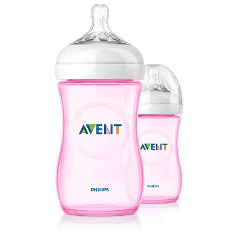 AVENT Natural Plastic Biberon 260 ml 2 Feeding Bottle Rose SCF694/27