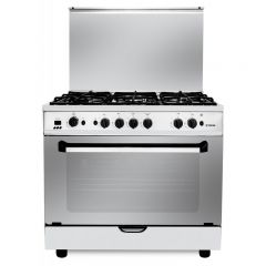 Fresh Gas Cooker 5 Burners 90x60 cm Cast Iron With Fan Stainless PLAZA90CAST-2653