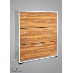 Wood & More Large Shoe Cabinet 3 Doors 100*30 cm White SC-3D-L W
