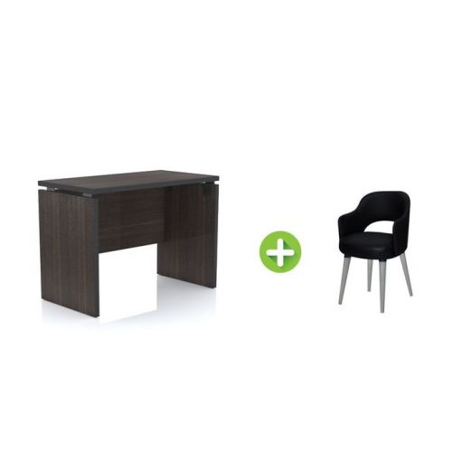 Artistico Office Desk 100*75*55 cm Without Drawers With Fixed Chair Dark Brown AD100FC-DB