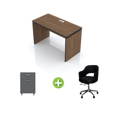 Artistico Office Desk 120*60*75 cm Without Drawers With Movable Chair And Office Cabine Light Brown AD120-LBMC