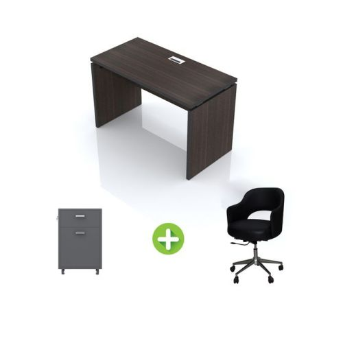 Artistico Office Desk 120*60*75 cm Without Drawers With Movable Chair And Office Cabine Black AD120-BKMC