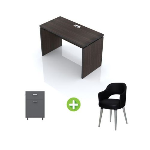 Artistico Office Desk 120*60*75 cm Without Drawers With Fixed Chair And Office Cabine Black AD120-BKFC