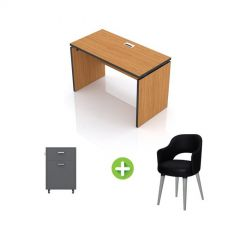 Artistico Office Desk 120*60*75 cm Without Drawers With Fixed Chair And Office Cabine Light Brown AD120-LBFCO