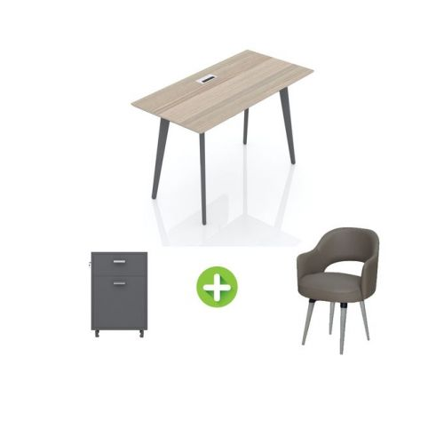 Artistico Free Desk Basic 120*60 cm With Fixed Chair And Chest of Drawers AFD120-FCC